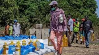 Birleşmiş Milletler Dünya Gıda Programı'nın Mozambik'te dağıttığı insani yardım
