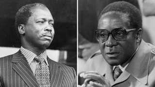 Composite picture of Daniel arap Moi and Robert Mugabe
