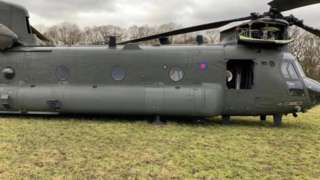 The chinook has been stuck in the field near Wantage for three days