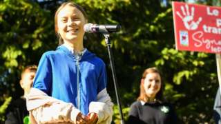 Swedish climate activist Greta Thunberg speaks during a press conference in Montreal