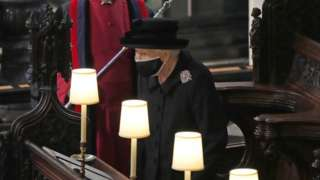 The Queen at Prince Philip's funeral