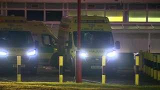 Waiting ambulances at City Hospital in Birmingham