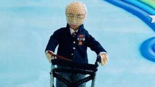 Knitted model of Captain Tom Moore