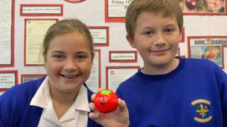 Children from Fourlanesend Community Primary School with red noses