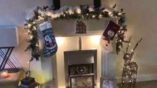 A close up fireplace decorations