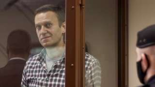 Russian opposition leader Alexei Navalny attends a hearing in Moscow, Russia, on 20 February 2021