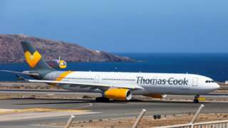 A Thomas Cook Scandinavia Airbus A330 plane at Las Palmas in the Canary Islands, Spain, 25 September 2019