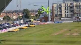 Air ambulance lands on Bristol cricket ground