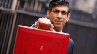 Rishi Sunak outside 11 Downing Street with red budget box
