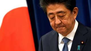 """Japanese Prime Minister Shinzo Abe speaks during a news conference at the prime minister""""s official residence in Tokyo, Japan, August 28, 2020."""