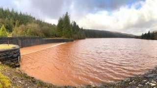 Cantref reservoir after landslip pollution