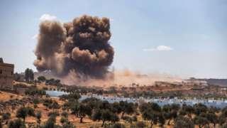 İdlib'de 7 Eylül tarihli bir hava saldırısı.