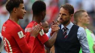 Gareth Southgate with England players Dele Alli and Marcus Rashford