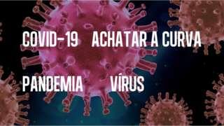 Termos sobre coronavírus em foto que reproduz vírus em tamanho ampliado