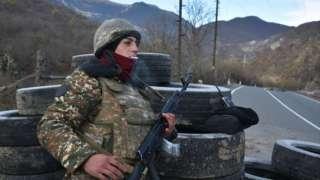Armenian soldier on guard on border with Kalbajar region, 25 Nov 20