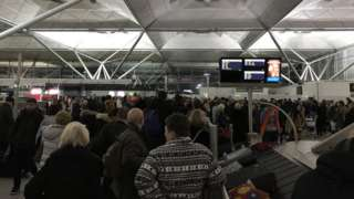 Passengers at Stansted Airport