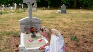 Woman by a grave