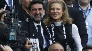 Newcastle United chairman Yasir Al-Rumayyan and part-owner Amanda Staveley watching the club's Premier League match against Tottenham at St James' Park