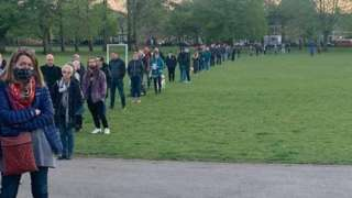In Canton people were seeing queuing around a park to vote as the deadline approached