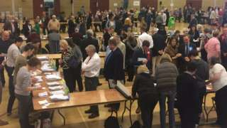 Election count at White Horse Leisure Centre in Abingdon
