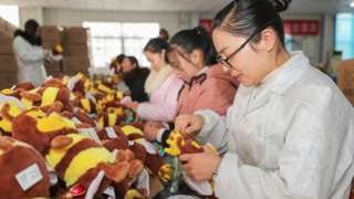 Chinese workers in toy factory in Jiangsu.