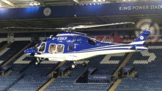 Helicopter landing at the stadium