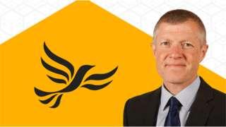 Leader Willie Rennie in front of Scottish Liberal Democrats logo