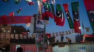 Workers decorate?the venue for Pakistan Democratic Movement protest