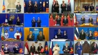 ကုန်သွယ်ရေး မိတ်ဖက်နိုင်ငံများ သဘောတူစာချုပ်ကို နိုင်ငံပေါင်း ၁၅ နိုင်ငံက လက်မှတ်ရေးထိုး