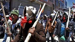 Supporters of Evo Morales demonstrate during a protest in El Alto on November 20