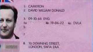 David Cameron's photo on a fake driving licence