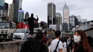Người biểu tình chống luật an ninh ở Hong Kong ngày 24/5