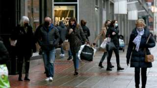 Shoppers in Belfast city centre on Friday
