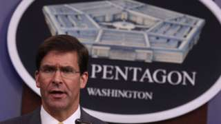 US Secretary of Defense Mark Esper at a press conference in August 2019