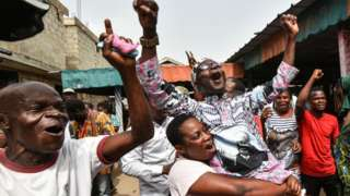 Jubilant supporters of Laurent Gbagbo in Abidjan, Ivory Coast - 31 March 2021