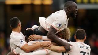 Romelu Lukaku celebrates with Manchester United team-mates