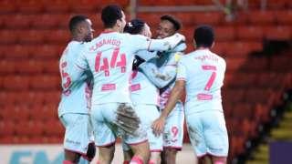 Swansea celebrate goal