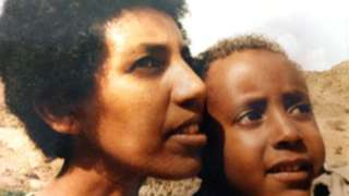 Aster Fissehatsion and her son Ibrahim Sherifo when he was a young boy