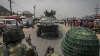 Nigerian soldiers and military convoy drive for Aba, Abia State