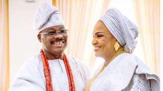 Abiola Ajimobi pẹlu Aya rẹ Florence