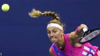Petra Kvitova hits a return at the 2020 US Open