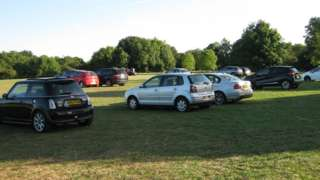 Cars parked on the Downs