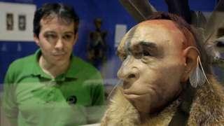 Hombre observa la recreación de una cabeza neandertal en un museo en España.