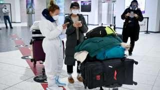 People arriving at Edinburgh Airport