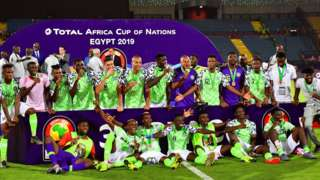 Nigeria celebrate finishing third at that the 2019 Africa Cup of Nations in Egypt