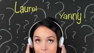 Woman's head with words Laurel and Yanny