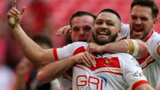 Sheffield Eagles' Corey Makelim celebrates scoring a try during the 1895 Cup Final at Wembley