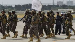 Taliban Badri special force fighters land for Kabul airport for Kabul on August 31, 2021