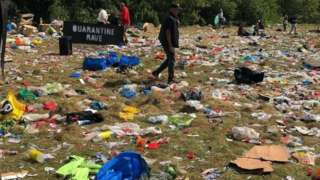 Rubbish left at illegal rave