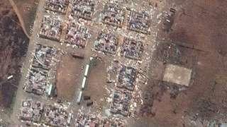 Destruction at an army complex in Bata